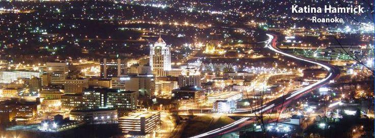 downtown Roanoke by night