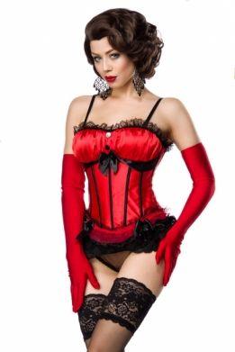 Satijnen burlesque korset rood