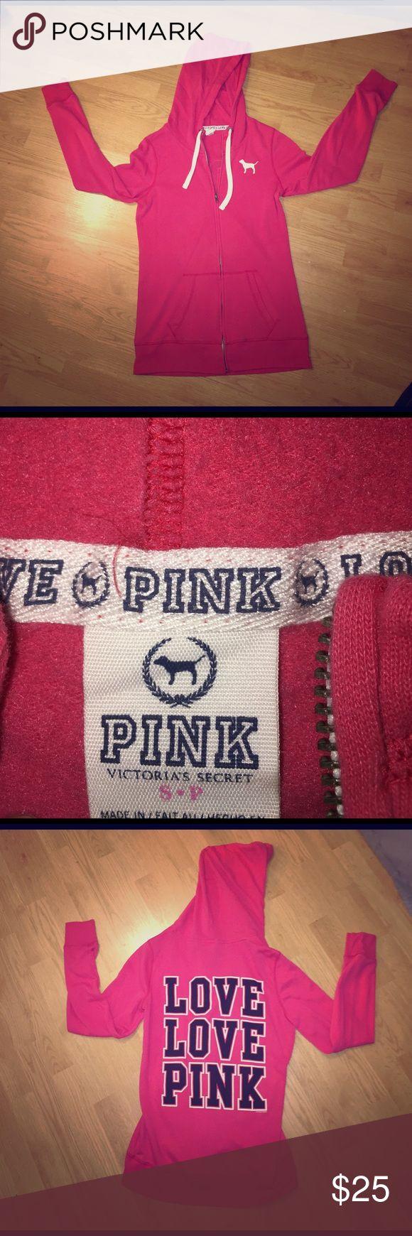 Hot pink PINK zip up jacket Small hot pink PINK jacket hardly worn PINK Victoria's Secret Jackets & Coats