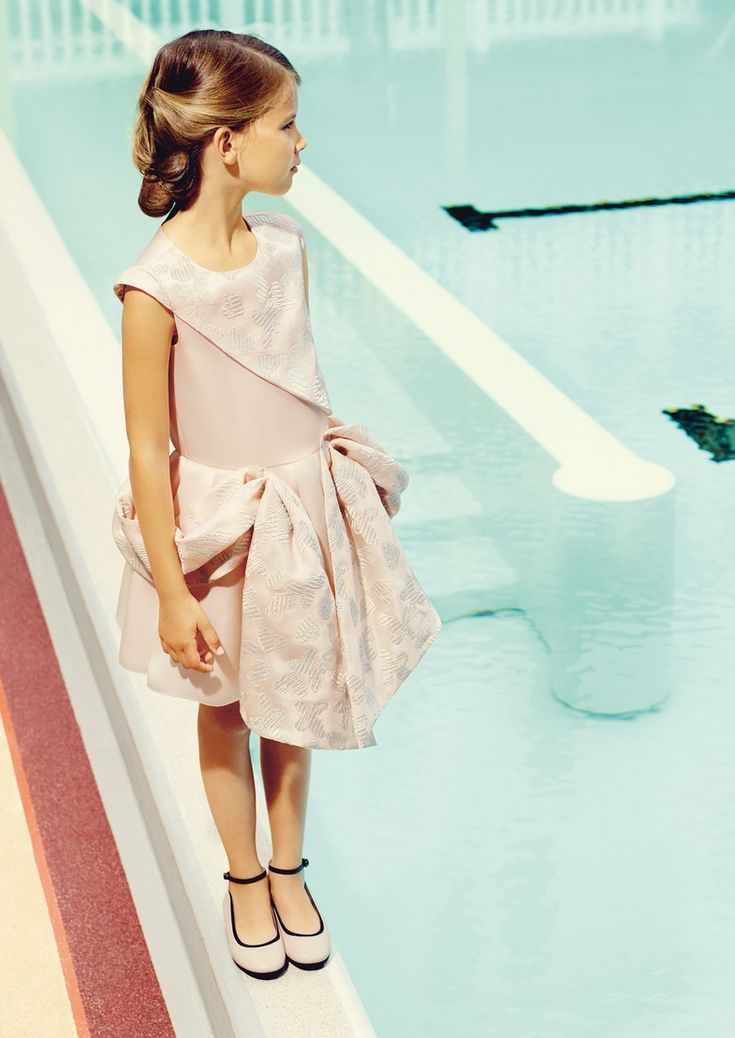 Soft pastel delicate print party dress by Baby Dior for spring 2015 girlswear