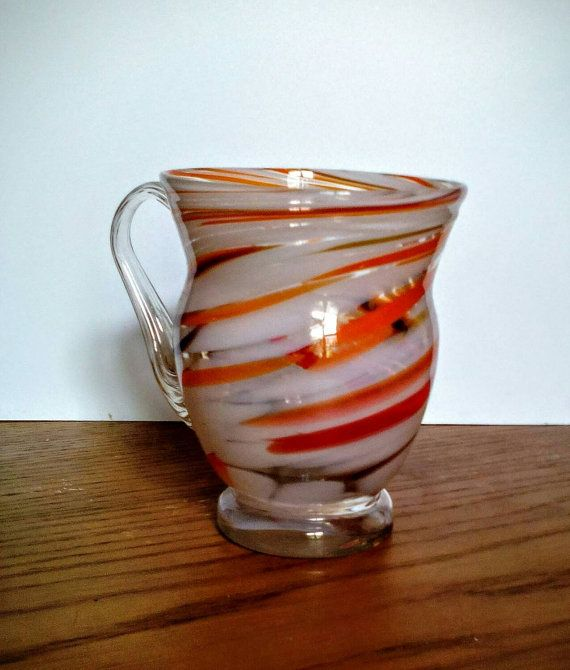 Vintage Colored Glass Cup mug Soviet Russian by LucyMarket on Etsy