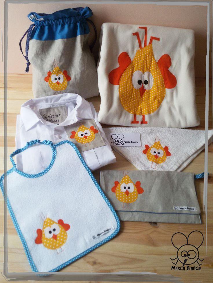 Set completo asilo  Bavaglino-portatovagliolo-asciugamano-copertina-sacchetto cambio-grembiulino https://www.facebook.com/moscabianca.handmade