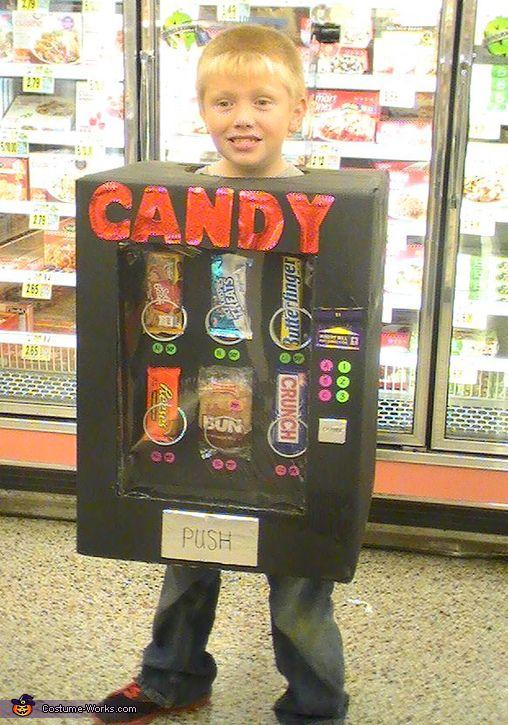 Cute idea...seeing Wyatt or Bennett this....Candy Vending Machine - Halloween Costume Contest