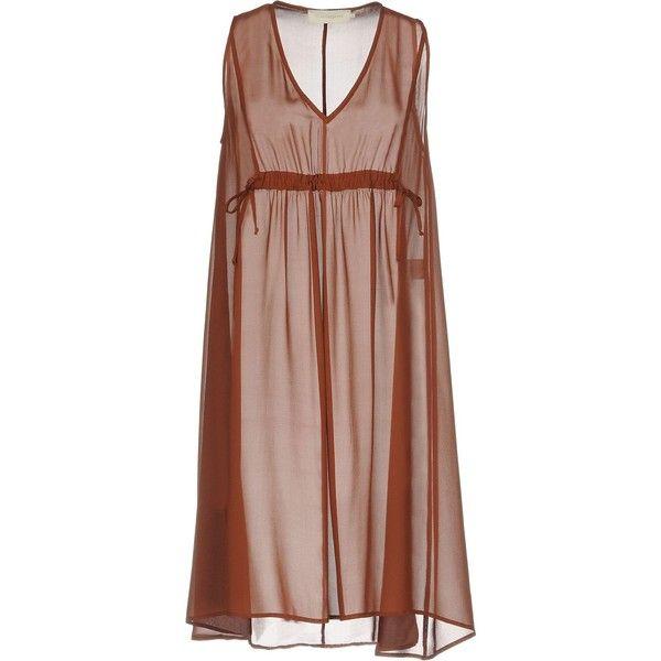 L' Autre Chose Short Dress ($207) ❤ liked on Polyvore featuring dresses, brown, v neck mini dress, slip dress, brown slip dress, v neck short dress and brown mini dress