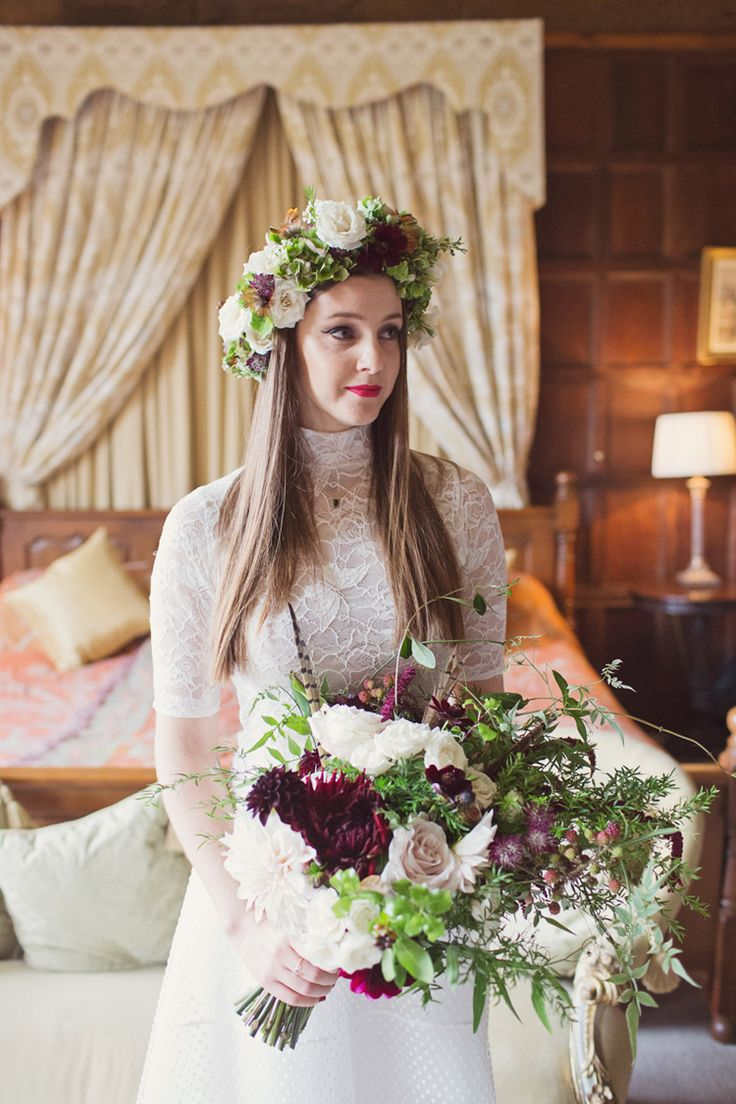 olan Cris Dress Gown High Neck Red Burgundy Dahlia Blush Bouquet Flowers Bride Bridal Foliage Rose Crown Antler Feather Stunning Countryside Wedding http://www.cottoncandyweddings.co.uk/