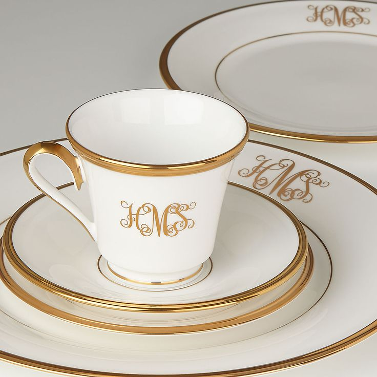 Eternal® White 5-pc Monogrammed Place Setting | Lenox