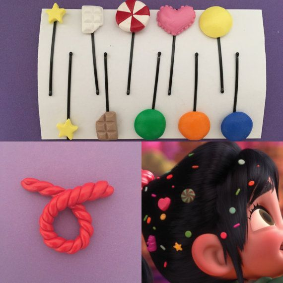 ❤ This listing is for your choice of Candy Hair Clips (Set-A), Gummy Bear Hair Clips (Set-B), or Licorice hair pin inspired by Vanellope von Schweetz from the movie, Wreck it Ralph. ♥ New Addition! ♥ You can now add a licorice hair pin to your order. Choose a hair clip set + Licorice on the drop down options. Savings when you purchase all 3 together! ❤ SET A INCLUDES (10) ❤ ♥ 4 Round Candy Hair Clips (Yellow, Green, Blue and Orange) ♥ 2 Yellow Star Hair clips ♥ 2 Chocolates (White and…