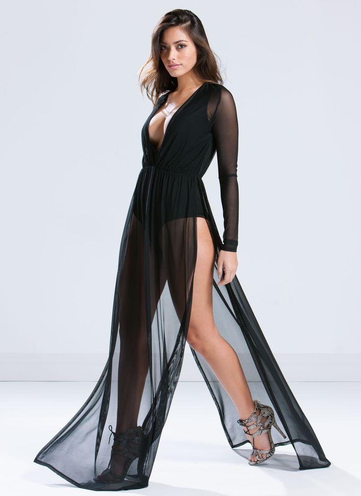 To The Maxi Bodysuit Dress BLACK WHITE