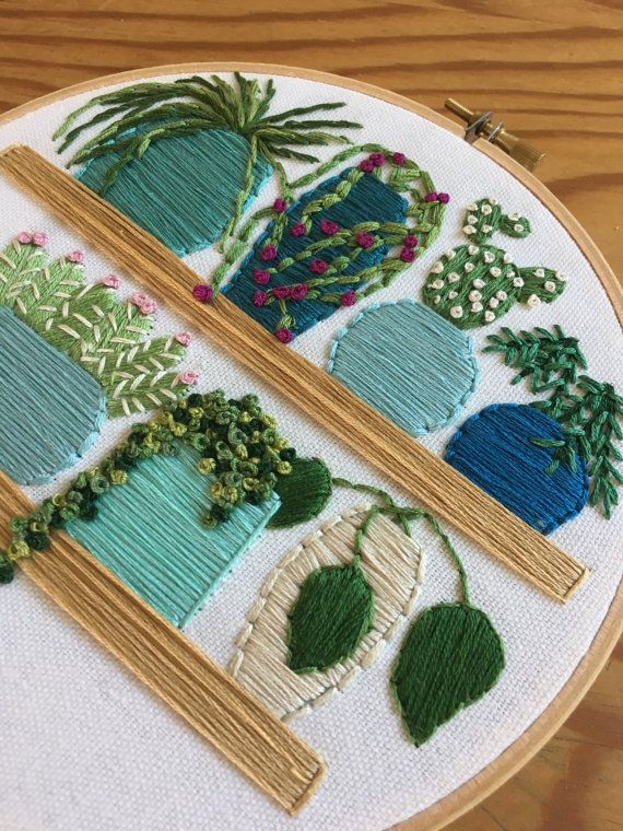 Pot Plants In Shades Of Blue Embroidery Hoop Art Cactus And