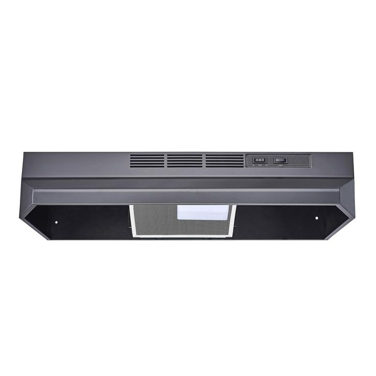 Winflo 30 in. Ductless/Non-Ducted Under Cabinet Range Hood in Black Color with Mesh Charcoal Filter
