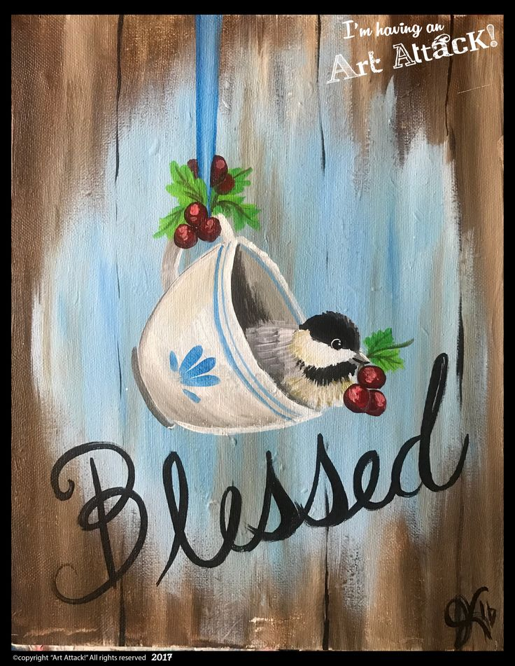 Blessed teacup with chickadee by Julie Kukreja. Art Attack! Paint Party