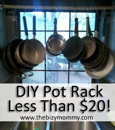 Beautiful DIY Pot Rack: Extra Cabinet Space For Less Than $20!   The Bizy Mommy