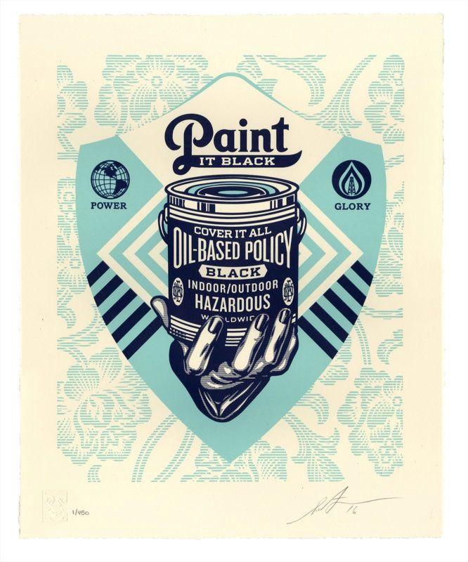 Shepard Fairey (Obey Giant) - Paint it Black Letterpress @ GOOD BOUTIQUE : Galerie d'art experte dans le street art