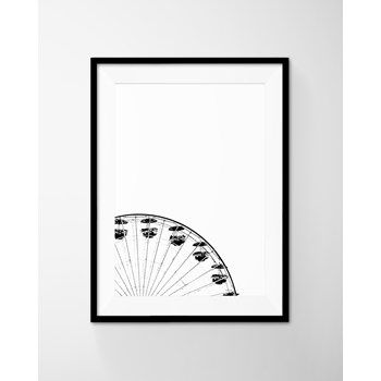 Black And White Merry Go Round Poster Art Printable. Modern, Mimimal Instant Download from DEERxBEAR at www.printablez.ca