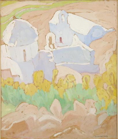 Spyros Papaloukas (Greek, 1892-1957) View of Mesohora, Aegina