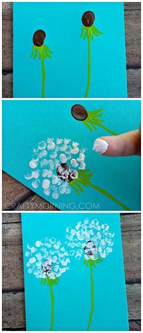 Fingerprint Dandelion Craft + Card Idea for Kids to Make!   CraftyMorning.com