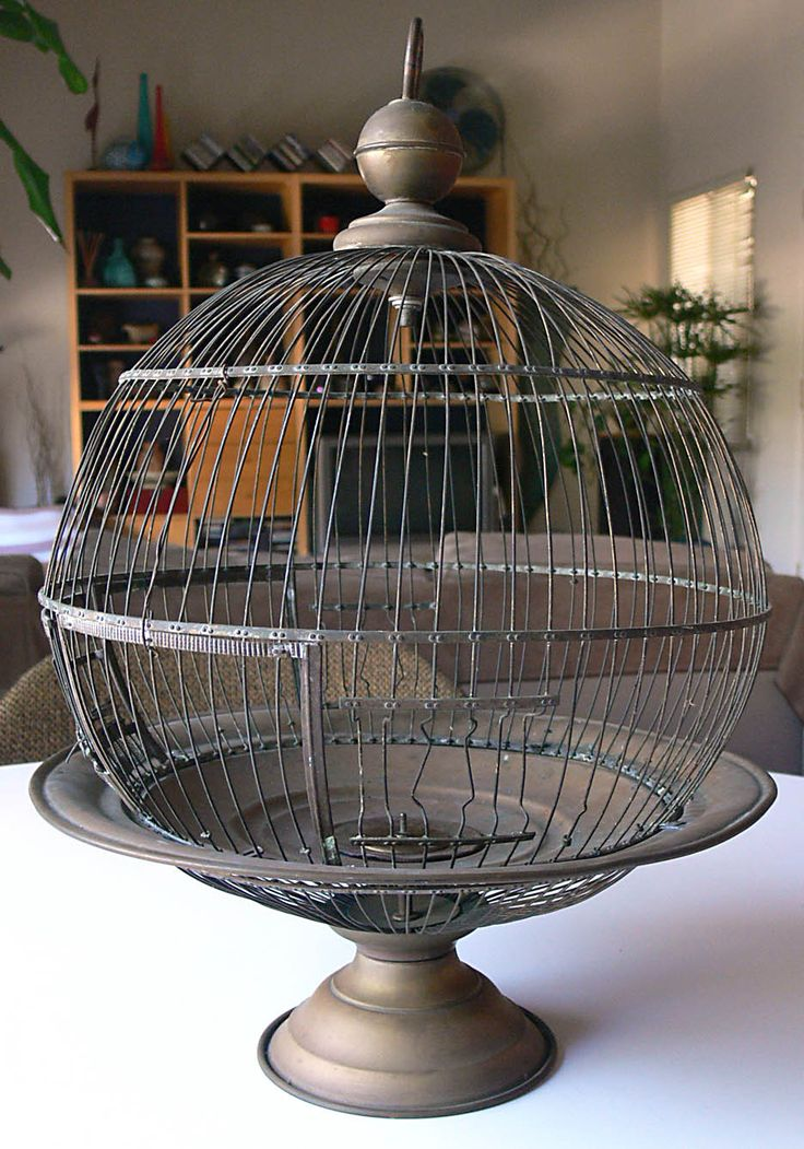 Vintage Antique Hendryx Brass Bird Cage House Round on Pedestal Can Be Hung | eBay