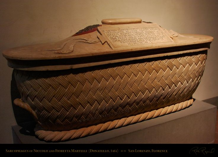 Beautiful marble Sarcophagus of Niccolo and Fioretta Martelli. This is one of the many works by Donatello at the Basilica di San Lorenzo. Commissioned by Roberto Martelli (1408-post 1469) for the family chapel around 1464. Donatello (1386-1466) received his early education in the home of the Martelli family before he started his career. Niccolo Martelli (1498-1555) was a grammarian who founded the Accademia Fiorentina in 1540.