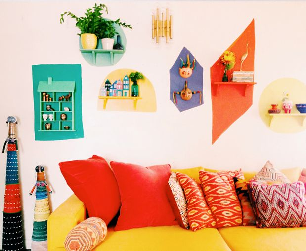 Bold and Bright Wall-art installation–Big reveal! | Justina Blakeney Est. 1979