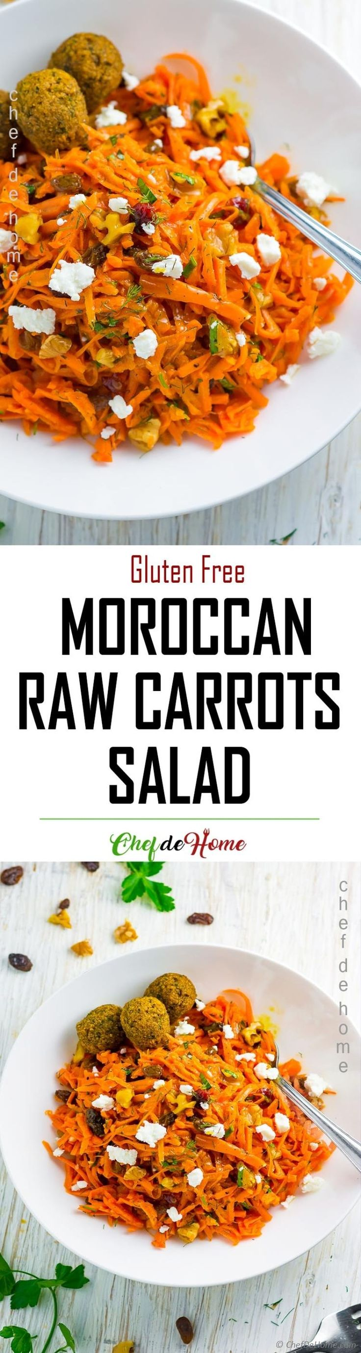Moroccan carrot salad, a grated raw carrot salad with walnuts, raisins, and refreshing sweet-and-sour honey, turmeric and ginger dressing. Gluten free with at-least 2 carrots in each serving. So, let's eat more raw carrots but in a delic...