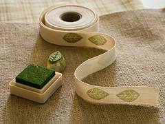 Leaf Stamp - stamped onto fabric ribbon. Love the presentation on this product.