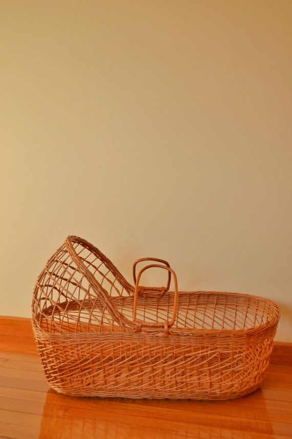 Retro Wicker Moses Basket with headboard. Totally handmade.