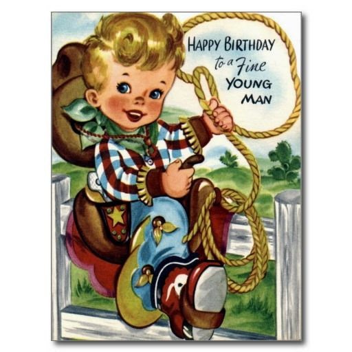 Little Cowboy - Retro Happy Birthday Card