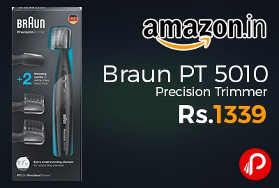 Amazon #LightningDeal is offering 10% off on Braun PT 5010 Precision Trimmer at Rs.1339 Only. Two trimming combs provide flexible, precise trimming, An extra small trimming element defines sharp lines, Washable head and combs can be easily cleaned under running water, Includes a Duracell AAA battery for up to 120 minutes of trimming time.  http://www.paisebachaoindia.com/braun-pt-5010-precision-trimmer-at-rs-1339-only-amazon/