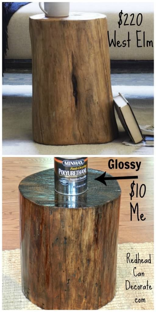 Dead Tree Stump From Our Yard Becomes End Table by http://redheadcandecorate.com