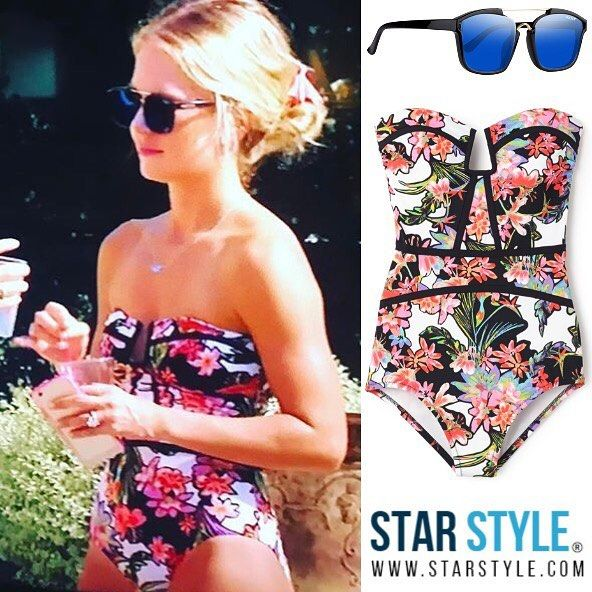 Cameran Eubanks wore Nectar Pharaoh sunglasses and a Nanette Lepore Havana Tropical Seductress swimsuit on Southern Charm
