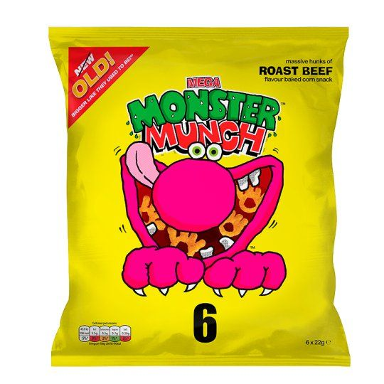 Walkers Monster Munch Roast Beef Snacks 6 Pack