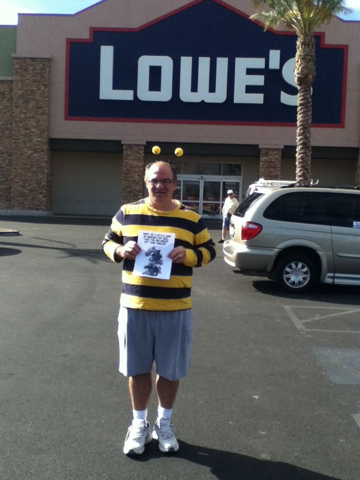 Keith delivered this Halloween card to his local Lowe's store in Las Vegas to urge the retailer to stop housing the bee-killer.
