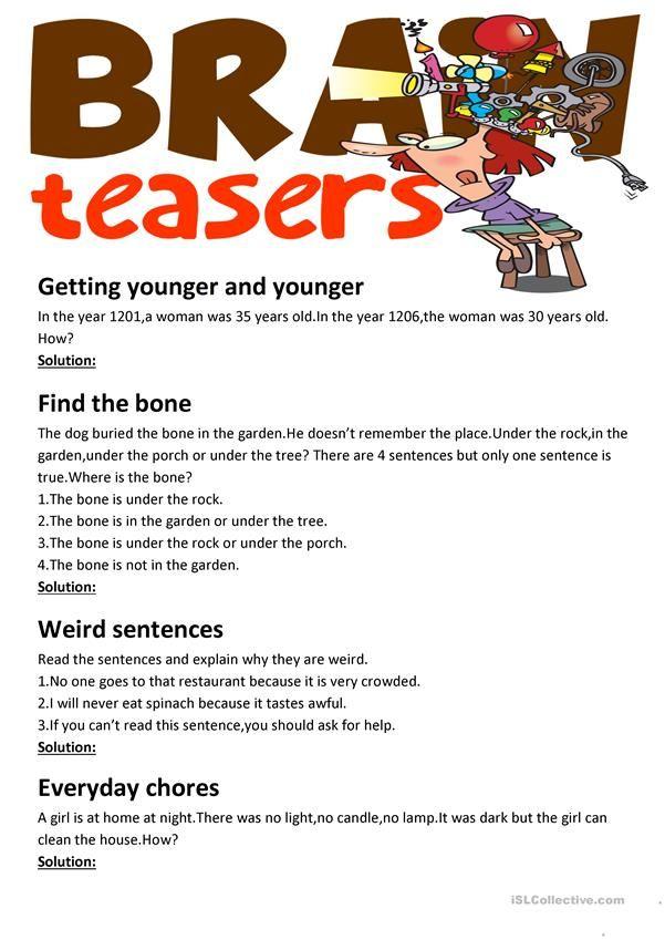 Brain Teasers With Answer Key Printable Brain Teasers Brain Teasers With Answers Brain Teasers