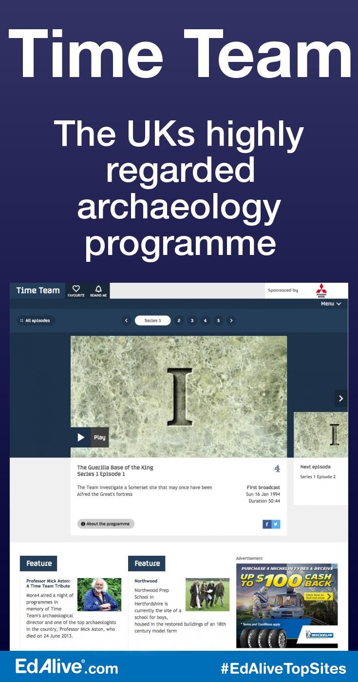 The UKs highly regarded archaeology programme | Aired on Channel 4 from 1994 to 2014. Each episode features a team of specialists carrying out an archaeological dig over a period of three days, with Tony Robinson explaining the process in layman's terms. The sites excavated over the show's run  ranged in date from the Palaeolithic to the Second World War. #History #EdAliveTopSites