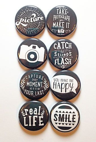 These are one inch flair buttons. There are 8 buttons in this set. Some graphics used with permission from designer Celeste Knight.
