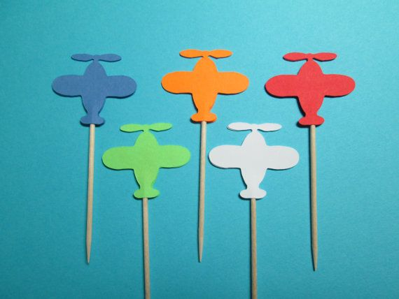 """Airplane Party Picks / Set Of 24 / Great For Birthday Parties / 1 1/4"""""""