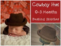 0-3 Month Cowboy Hat Fan Request Friday The pattern below can be viewed for FREE or you can purchase the PDF for $1 Materials: Red Heart Super Saver 2 colors Yarn Needle Size I 5.5 mm hook Abbreviations: Sl st- Slip Stitch Ch- Chain Sc- Single Crochet Ch 7, sc into the 2nd chain from the hook, sc into [...]
