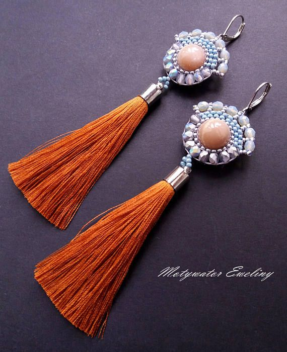 The Peaks of the Hills Earrings Sun Stone and Tassels