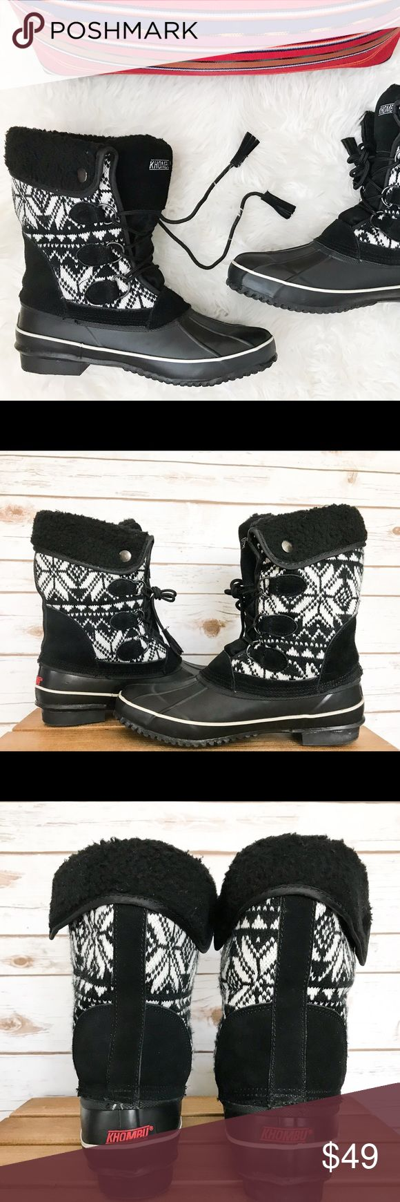"""KHOMBU Aztec Women's Leather Lace-Up Snow Boots These KHOMBU Aztec Women's Leather Snow Boots have to be the cutest boots around! You will love the print and coziness of these boots.   Details: Size: 10M Style: BW1645  Colors: Black/White Aztec Print. Leather/Fabric Upper. Balance man made materials. Faux Fur Lining. Synthetic sole. Lace-Up. Shaft height: 10"""" (H) Top opening circumference measures 13-15"""" depending how you lace them. Heel height: 0.34"""" (H)  Condition: In great pre-owned…"""