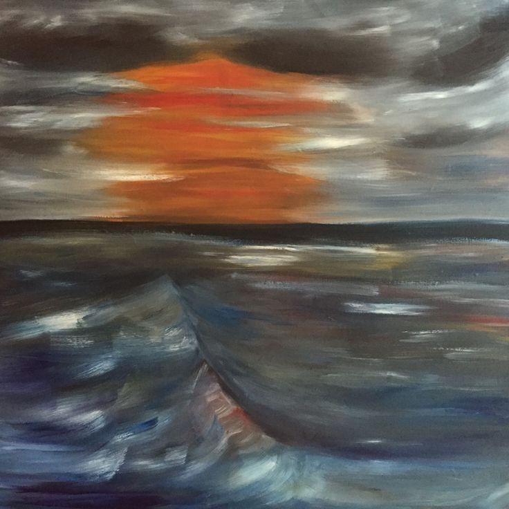 Waves - impresionistic, oilpaint, canvas- 100x100cm