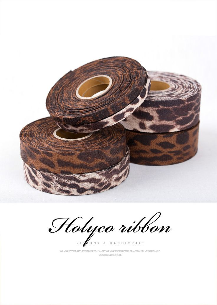 "Leopard Patterns Faux Leather Ribbon / 3/8""(10mm), 1""(25mm), 1.5""(40mm) / made in Korea by HOLYCO on Etsy"