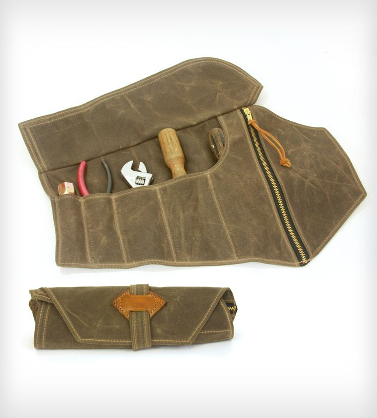 Waxed Canvas Tool Roll in Men's by Red Clouds Collective on Scoutmob Shoppe. A handcrafted waxed canvas tool roll for the handy man in your life. #tools #canvas #toolroll