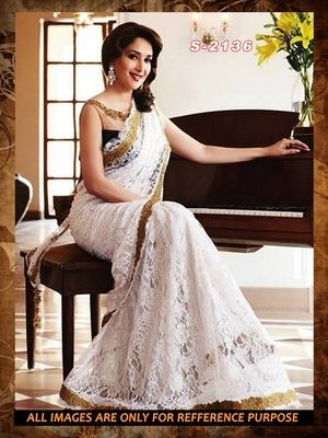 white  ambroidery net party wear saree with blouse Sarees on Shimply.com