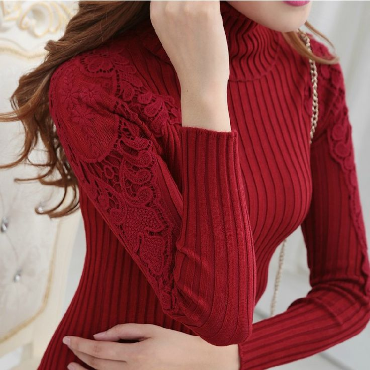New Autumn Slim Sweater Causal Solid Plain Turtleneck High Collar Basic Knitted lace Sweaters Women Pullover Tops