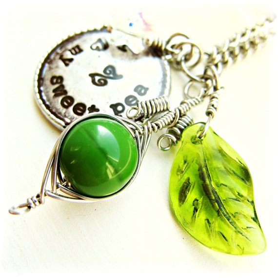 Peapod Mommy Necklace Mother Grandmother Hand Stamped by SzetoBaby, $45.00
