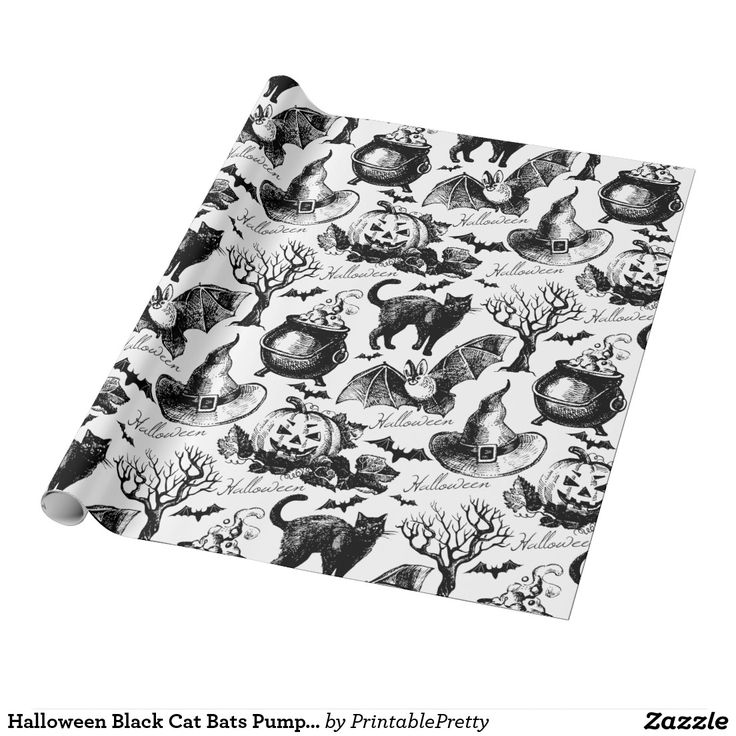Halloween Black Cat Bats Pumpkins Vintage Pattern