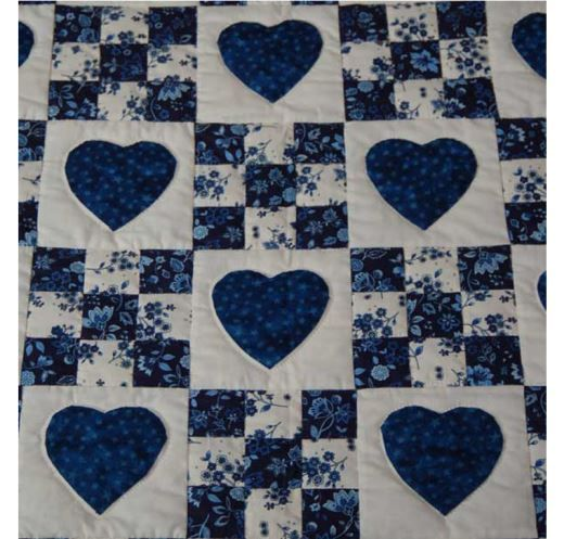 Amish Quilts - Handmade Patchwork Quilt For Sale in Blue and White