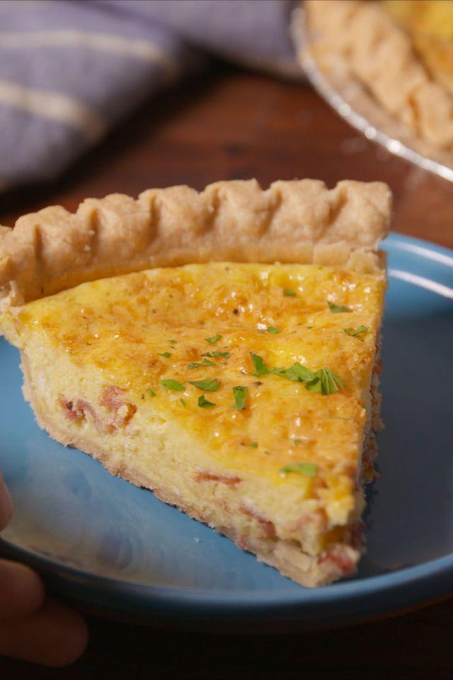 Easy Cheesy Bacon Quiche Recipe  - Delish.com