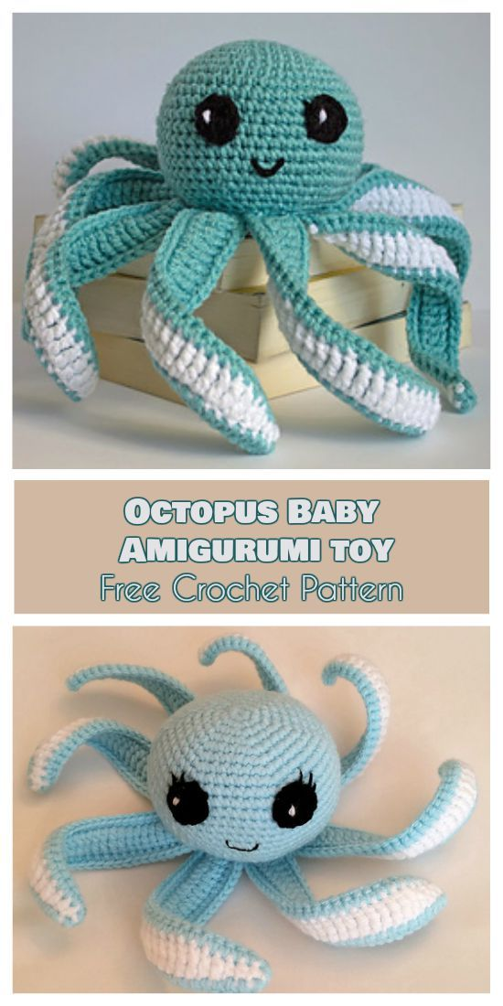 Octopus Baby - Amigurumi Toy - Free Crochet Pattern. Every child will be happy to have this toy. Birthdays, baptism ceremony, or a gift without occasion. It is proved that octopus tentacles help premies to develop better. #freecrochetpatterns #amigurumi #octopus #newbornbaby