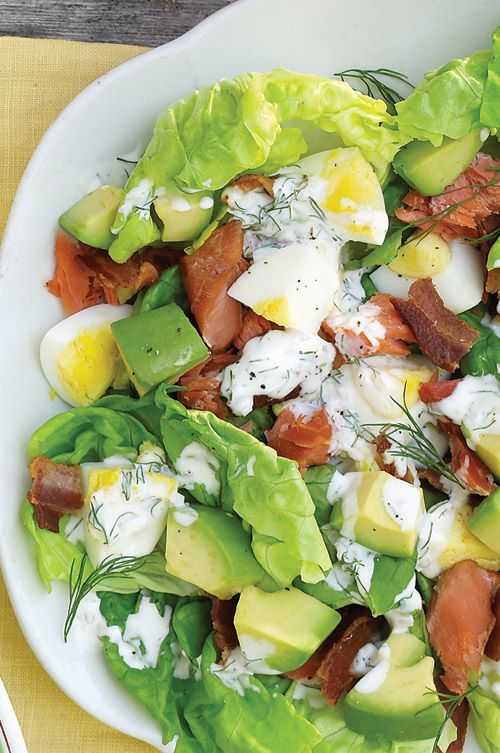 Smoked-Salmon Cobb Salad - Martha Stewart Recipes *BUTTERMILK, mayo, shallots, dill, lemon, bacon, boston/bibb, hardboiled egg, salmon, avocado